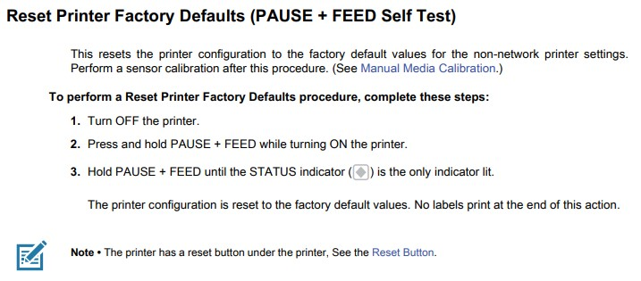 factory reset instructions for printer