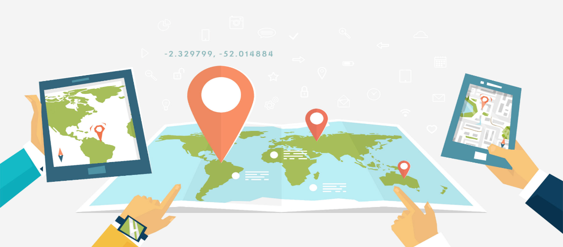 map with phone and location icons